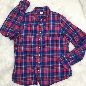 J Crew Perfect Plaid Flannel Shirt Blue Pink sz XL